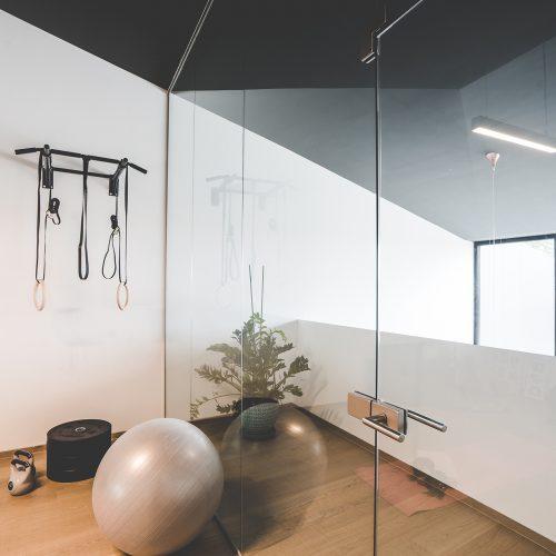 Kricker Glas Walk In Dusche Glastrennwand Pivottür Fitnessraum